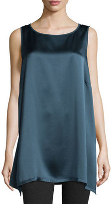 Eileen Fisher Silk Satin-Back Crepe Sleeveless Tunic $248 thestylecure.com