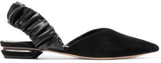 Nicholas Kirkwood Suzi Suede And Ruched Leather Slingback Point-toe Flats - Black