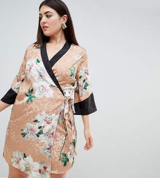 Asos DESIGN Curve kimono wrap mini dress in floral jacquard print