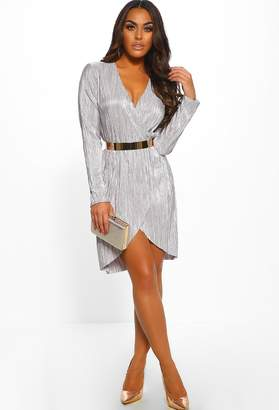 Pink Boutique Prosecco Pop Grey Pleated Metallic Wrap Front Mini Dress