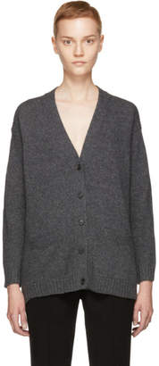 Prada Grey Wool and Cashmere Elbow Patches Cardigan
