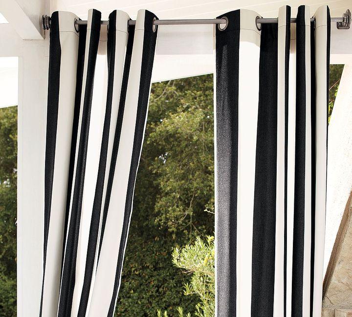 Pottery Barn Sunbrella® Awning Stripe Outdoor Grommet Drape - Black & White