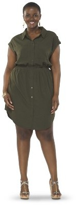 Women's Plus Size Utility Shirt Dress-Pure Energy