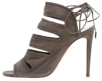Aquazzura Cutout Lace-Tie Sandals