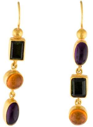 Yossi Harari 24K Opal, Tourmaline & Amethyst Drop Earrings