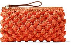 M Missoni Leather-Timmed Crocheted Cotton-Blend Clutch