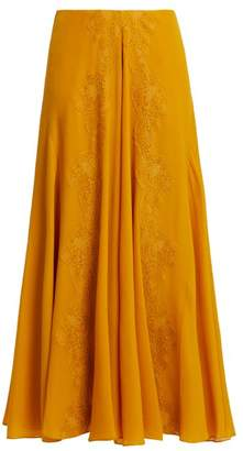 Chloé Lace Trim Silk Georgette Skirt - Womens - Yellow