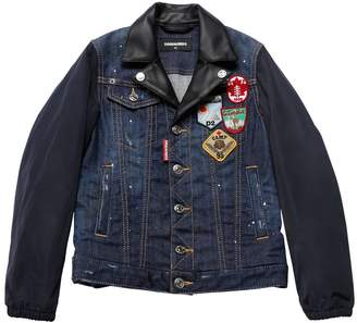 DSQUARED2 Patches Denim & Nylon Biker Jacket