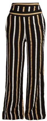 Ace&Jig Dancin Striped Textured Cotton Wide Leg Trousers - Womens - Black Multi
