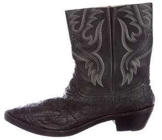Number Nine Number (N)ine Ostrich-Trimmed Cowboy Boots
