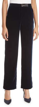Giorgio Armani Slit Cuff Wide-Leg Velvet Pants