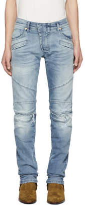Pierre Balmain Blue Distressed Biker Jeans