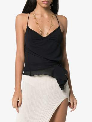 Jacquemus lace-trim asymmetric hem cami top