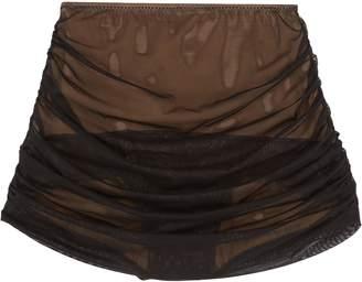 Norma Kamali 'Bill' mesh overlay ruched skirt overlay bikini bottoms