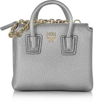 MCM Spike Silver Laminated Leather Milla Mini Bag Card Case