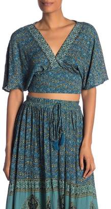Angie Deep V Paisley Patterned Crop Top