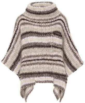 Brunello Cucinelli Striped mohair-blend poncho
