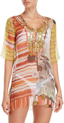 Save The Queen Printed Sheer Silk Cover-Up Tunic