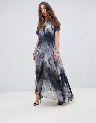 Religion cap sleeve maxi dress in abstract calm print