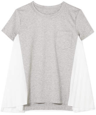 Sacai Pleated Poplin-paneled Cotton-jersey T-shirt - Light gray