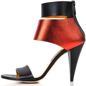 Kim Kwang Metallic Finish Leather Sandals Red