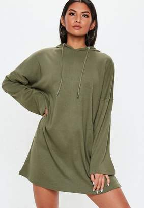 Missguided Khaki Ribbed Oversized Hooded Sweater Dress