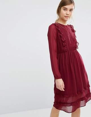 Vero Moda Ruffle Front Embroidered Dress $53 thestylecure.com