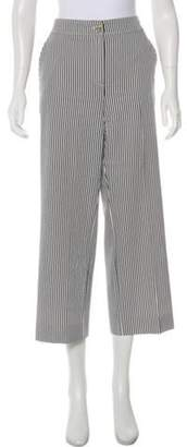 St. John Striped Mid-Rise Cropped Pants Navy Striped Mid-Rise Cropped Pants