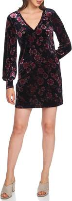 1 STATE 1.STATE Gallant Garden Balloon Sleeve Stretch Velvet Dress