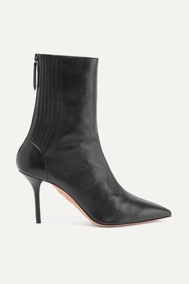 Aquazzura Saint Honore 85 Leather Sock Boots