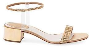 Rene Caovilla Women's Crystal-Embellished Block Heel Sandals