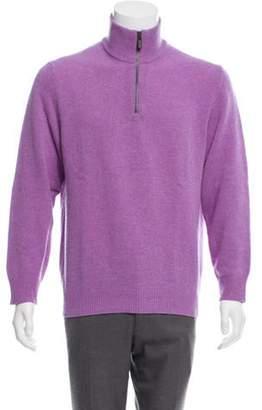 Etro Wool Half Zip Sweater purple Wool Half Zip Sweater