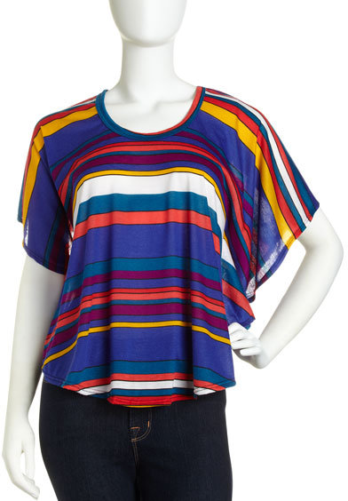 Romeo & Juliet Couture Striped Cape-Sleeve Top