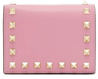 Valentino Rockstud Leather Wallet - Womens - Pink