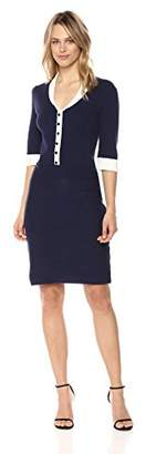 Anne Klein Women's Short Sleeve Shawl Collar Dress