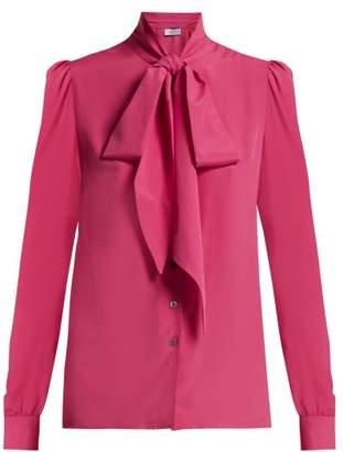 Racil - Doris Pussy Bow Crepe Blouse - Womens - Pink