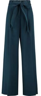 Milly Trapunto Belted Pleated Crepe Wide-Leg Pants