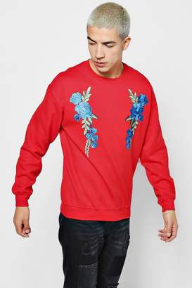 boohoo Twin Floral Embroidered Sweater
