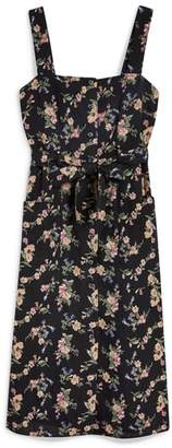 Topshop Floral Pinafore Midi Dress