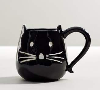 Pottery Barn Black Cat Figural Mug