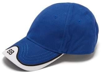 Balenciaga Logo Embroidered Cotton Cap - Mens - Blue White