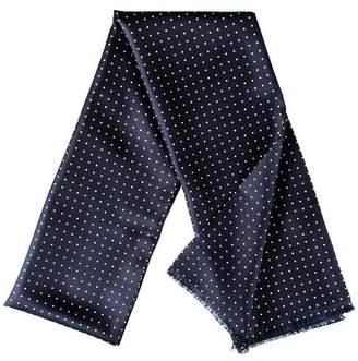Black Adelfia - Navy Polka Dot Silk Dress Scarf