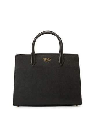 Prada Bibliothèque Medium Saffiano Top-Handle Tote Bag, Black/White (Nero+Bianco)