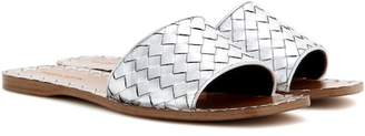 Bottega Veneta Metallic leather slip-on sandals