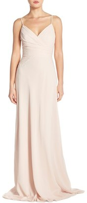 Women's Monique Lhuillier Bridesmaids Lace Trim Chiffon Surplice Gown $328 thestylecure.com