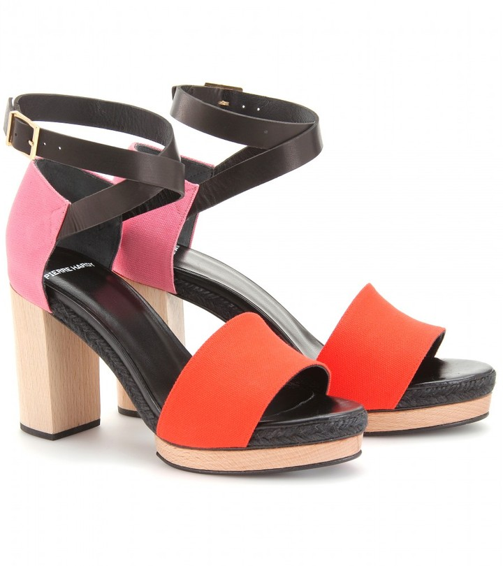 Pierre Hardy CANVAS AND LEATHER PLATFORM SANDALS