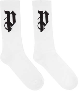 Palm Angels White Monogram Socks