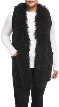 Adrienne Landau Plus Fur-Trim Long Knit Vest, Plus Size