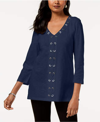 JM Collection Cotton Grommet-Laced Tunic