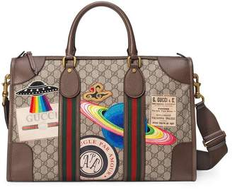 ee9467d60927 Gucci Leather Courrier GG Supreme duffle bag
